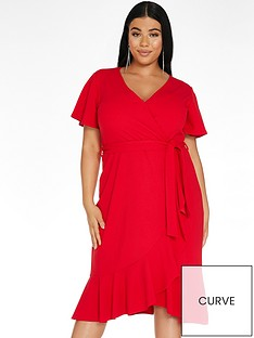 quiz-curve-frill-wrap-midi-dress-rednbsp