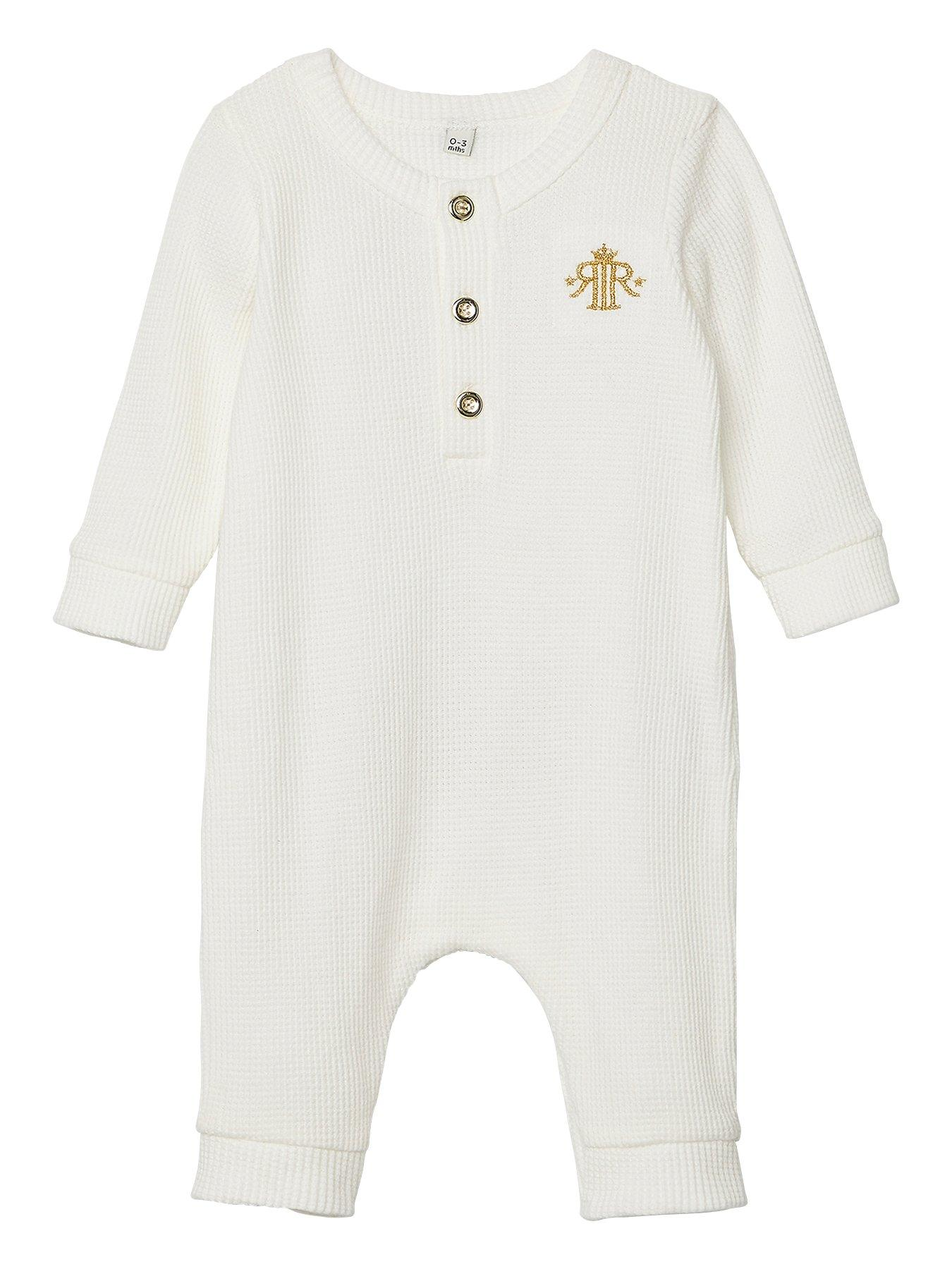 Mamas /& Papas Baby Girls Heart Embriodered All-in-one Romper