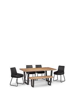 julian-bowen-brooklyn-180-cm-dining-table-4-soho-chairs-bench