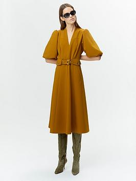 gestuz-lynne-belted-midi-dress-mustard