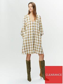 gestuz-chloe-check-button-through-dress-yellowwhite