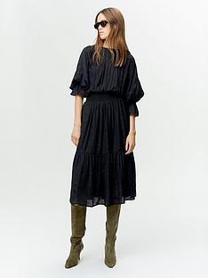 gestuz-vanaya-tiger-jacquard-shirred-waist-midi-dress-black