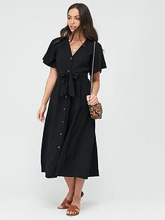 whistles-anita-frill-sleeve-dress-black