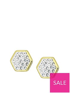 evoke-evoke-gold-plated-sterling-silver-swarovski-crystals-hexagon-shape-stud-earrings