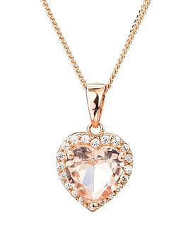 the-love-silver-collection-rose-gold-plated-sterling-silver-cubic-zirconia-heart-morganite-colour-glass-pendant-necklace