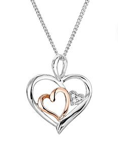 love-diamond-sterling-silver-and-9ct-rose-gold-triple-heart-diamond-pendant-on-18-inch-curb-chain