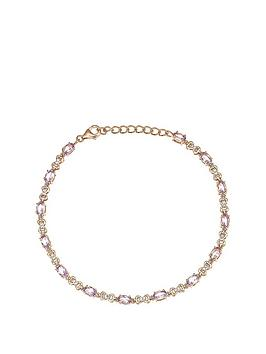 love-gem-rose-gold-plated-sterling-silver-oval-pink-amethyst-and-011ct-diamond-linked-hearts-bracelet