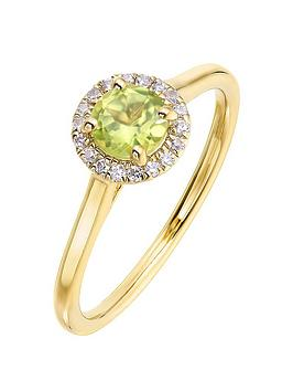 love-gem-9ct-yellow-gold-5mm-round-peridot-and-008ct-diamond-birthstone-halo-ring
