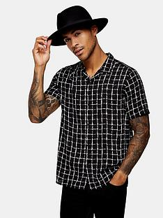 topman-check-revere-shirt-black