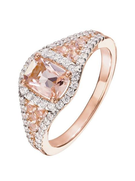 the-love-silver-collection-rose-gold-plated-sterling-silver-cubic-zirconia-and-glass-morganite-cushion-cluster-ring