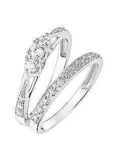 love-diamond-9ct-white-gold-023ct-three-stone-diamond-ring-and-9ct-white-gold-007ct-wedding-band-bridal-set