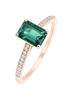 love-gem-9ct-rose-gold-octagon-created-emerald-and-009ct-diamond-ring