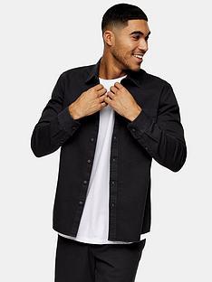 topman-twill-slim-fit-shirt-charcoal