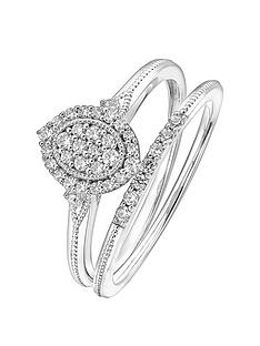love-diamond-9ct-white-gold-028ct-diamond-bridal-set-milgrain-ring