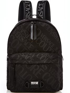 versace-jeans-couture-mens-all-over-tonal-logo-backpack-black