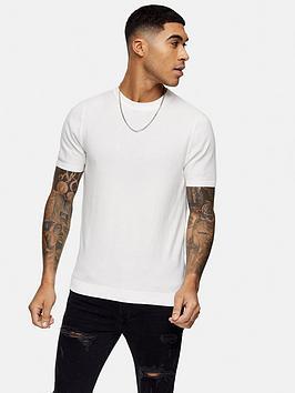 topman-knitted-crew-neck-t-shirt-white