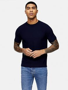 topman-knitted-crew-neck-t-shirt-navy