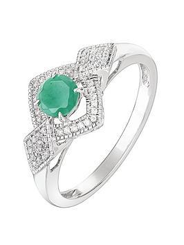 love-gem-9ct-white-gold-round-emerald-and-012ct-diamond-bridal-ring
