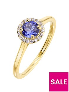 love-gem-9ct-yellow-gold-5mm-round-synthetic-tanzanite-and-008ct-diamond-birthstone-halo-ring