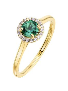 love-gem-9ct-yellow-gold-5mm-round-created-emerald-and-008ct-diamond-birthstone-halo-ring