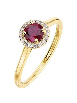 love-gem-9ct-yellow-gold-5mm-round-created-ruby-and-008ct-diamond-birthstone-halo-ring