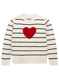 v-by-very-girls-heart-stripe-fluffy-knitted-jumper-cream