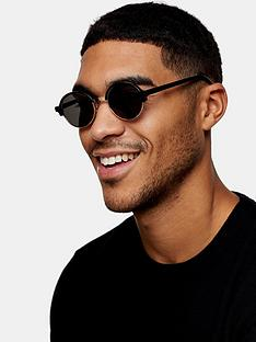 topman-round-clubmaster-sunglasses-black