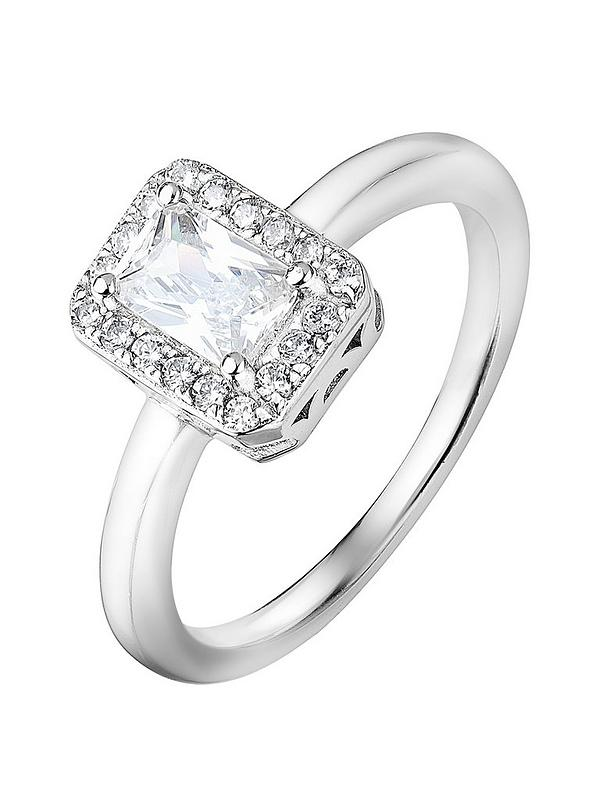 Round Center Clear Cubic Zirconia Decorative Ring Rhodium Plated Sterling Silver