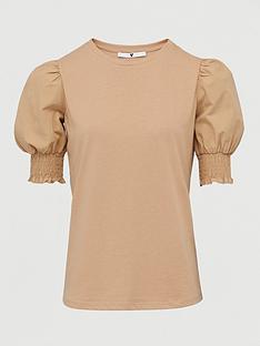 v-by-very-poplin-sleeve-gathered-sleeve-t-shirt-stone
