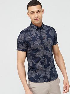 ted-baker-downdog-parrot-amp-leaf-print-short-sleeve-shirtnbsp-navy
