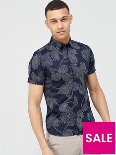 ted-baker-downdog-parrot-amp-leaf-print-short-sleeve-shirtnbsp-navy