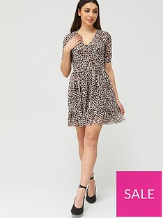 v-by-very-mesh-ruffle-neck-wrap-tea-mini-dress-animal