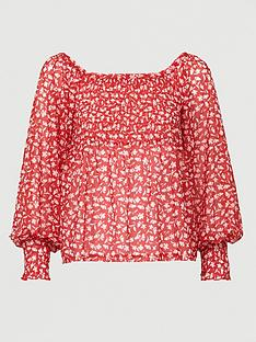 v-by-very-mesh-bardot-ruched-top-floral-print