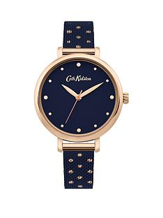 cath-kidston-cath-kidston-watch-with-navy-satin-dial-and-navy-with-rose-gold-polka-dots-stainless-steel-mesh-strap