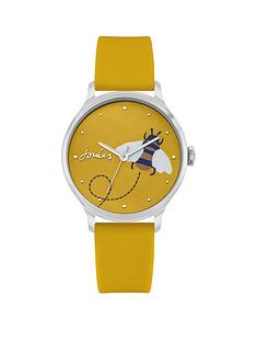 joules-ladies-watch-with-yellow-silicone-strap-and-yellow-bee-gloss-print-dial