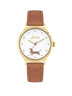 joules-ladies-watch-with-tan-leather-strap-and-off-white-with-daschund-print-dial