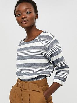 monsoon-brooke-stripe-organic-cotton-linen-top-navy