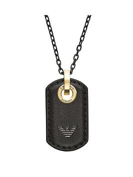 emporio-armani-emporio-armani-black-and-gold-stainless-steel-and-leather-dog-tag-mens-neckwear