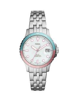 fossil-silver-with-pink-and-blue-bezel-date-dial-stainless-steel-bracelet-ladies-watch