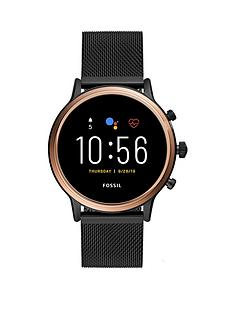 fossil-fossil-full-display-and-rose-gold-case-dial-black-stainless-steel-mesh-strap-smart-watch
