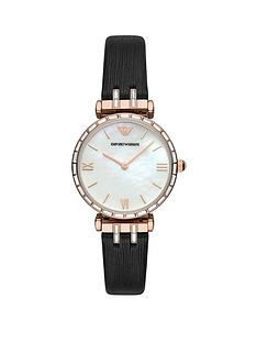 emporio-armani-mother-of-pearl-and-rose-gold-detail-dial-black-leather-strap-ladies-watch