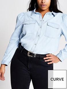 ri-plus-puff-sleeve-denim-shirt-blue