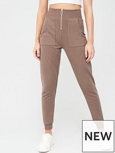 river-island-high-waist-jogger-brown