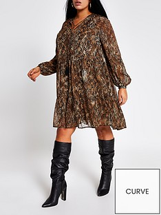 ri-plus-printed-tie-neck-smock-dress-brown