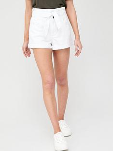 river-island-paperbag-denim-shorts-white