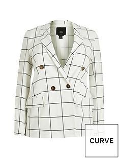ri-plus-check-double-breasted-blazer-white