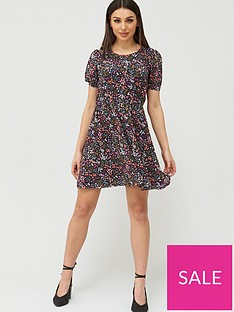 v-by-very-balloon-sleeve-smock-dress-floral