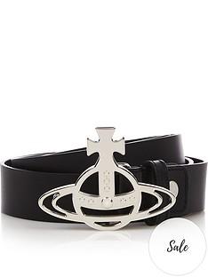 vivienne-westwood-menrsquosnbsporb-buckle-silver-leather-belt-black