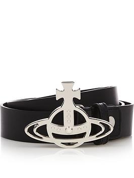 vivienne-westwood-menrsquosnbsporb-buckle-silver-leather-belt-black