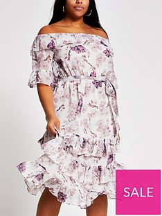 ri-plus-floral-bardot-ruffle-midi-dress-pink